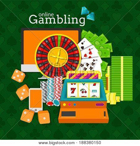 Online gambling vector illustration. Slot machine, roulette, desktop, phone, stacks of money, poker chips and dice cubes. EPS10
