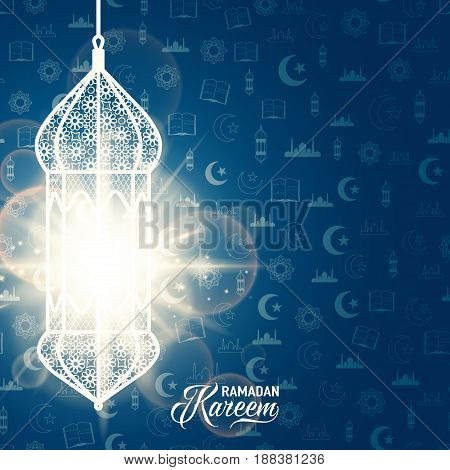 Vector illustration of ramadan kareem blue color greeting invitation template with arabian pattern lantern, light effect, text sign on seamless background with moon, star, mosque, koran