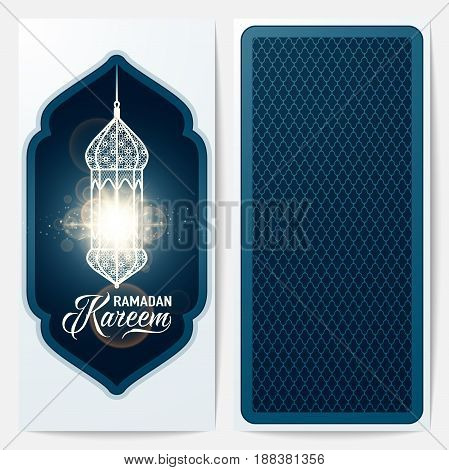Vector illustration of ramadan kareem blue color greeting invitation template with lantern, light effect, text sign, arabian pattern. Back and face side
