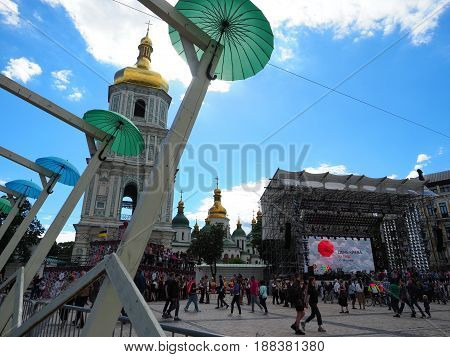 KIEV - UKRAINE - MAY 2017: The Day of Kyiv, a celebration on Sofievskaya Square. Sophia cathedral, stage, visitors.
