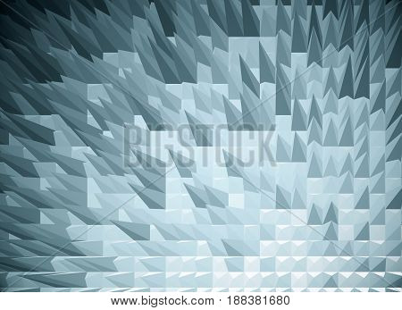 Grey spiky polygonal background. 3D Rendering, close up