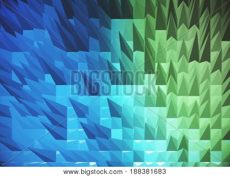 Blue spiky polygonal background. 3D Rendering, close up