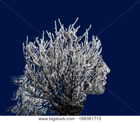 Branches in the snow, bush, like a female profile. Double exposure. Beautiful girl, portrait and nature. Unity, cold, graphics, creative photo effect.