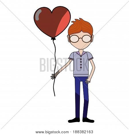 man with glasses and heart balloon in the hand, vector illustration