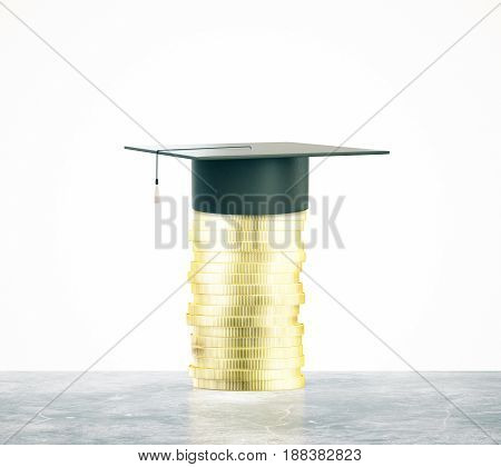 Golden coins with mortarboard on white background. Graduation concept. 3D Rendering