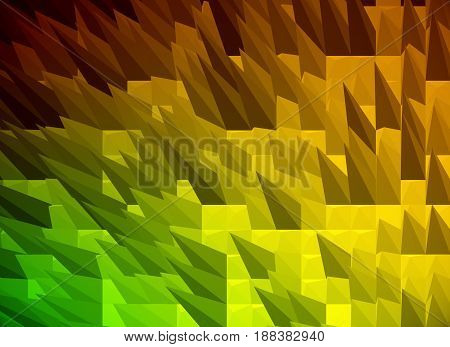 Orange spiky polygonal background. 3D Rendering, close up