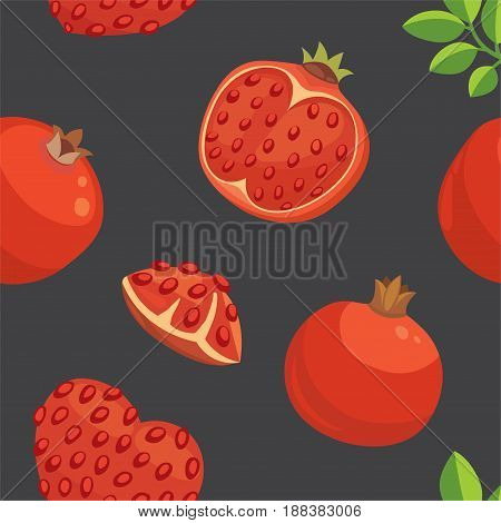 Fresh pomegranates hand drawn background. Doodle wallpaper vector. Colorful seamless pattern