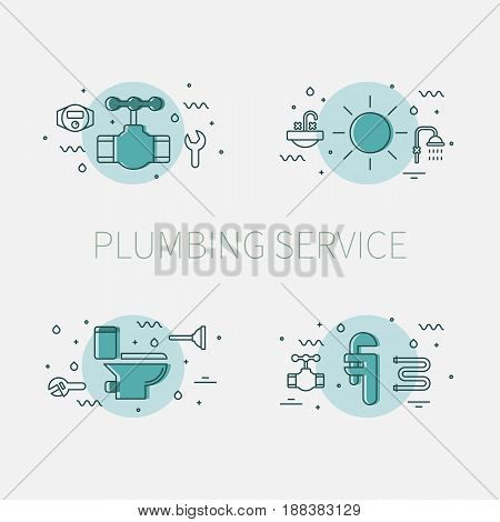 Plumbing service set of illustrations and logos with valve, sun, toilet bowl and adjustable pipe wrench