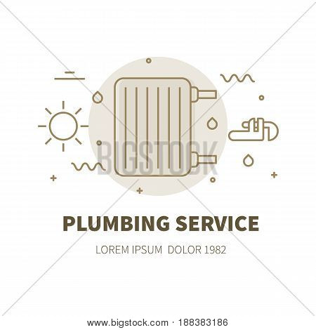 Plumbing service concept design illustration and logo of heater radiator