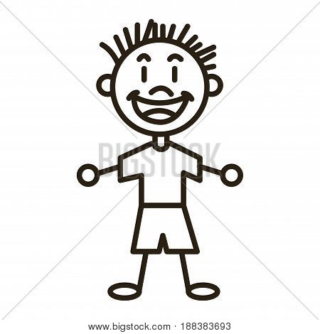character happy boy kid outline vector illustration