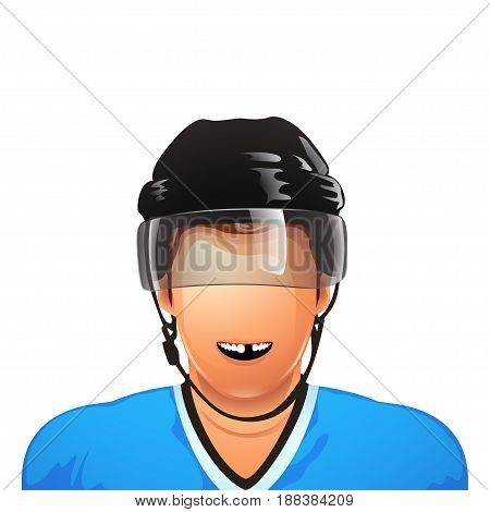 illustration of hockey player smiling without tooth isolated on white background
