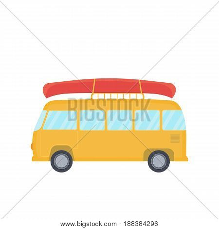 Yellow bus for camping and travel with canoe on top, vector illustration in style of flat design