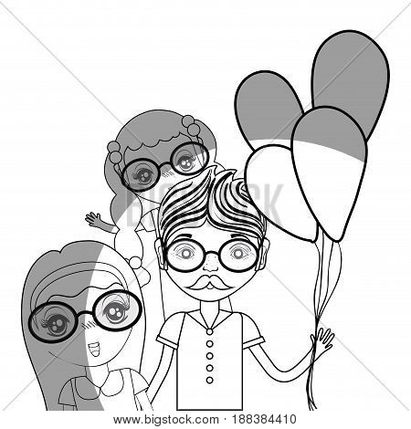 line father with his daughters and balloons, vector illustration