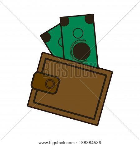 cartoon wallet with money cash image vector illustration