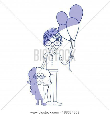 silhouette father with his daughter and balloons, vector illustration