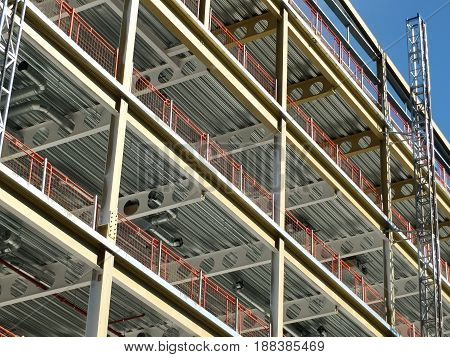 construction site or modern office development with metal framework