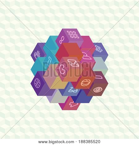 An array of isometric projection multi-colored cubes with social symbols on the edges for infographic. Flat material design for visual projects and presentations