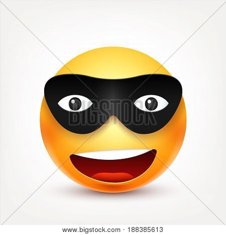 Smiley, smiling emoticon with mask. Yellow face with emotions. Facial expression. 3d realistic emoji. Funny cartoon character.Mood. Web icon. Vector illustration.