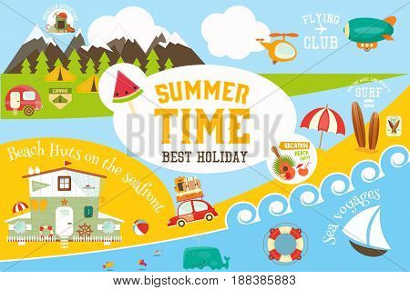 Summer Vacation Card - Beach Huts on Seafront Mountain Travel Flying Surfing and Sea Voyages Infographic Concept. Vector Illustration.
