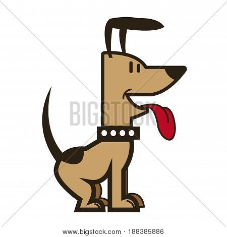 cartoon dog puppy pet sitting with collar vector illustration