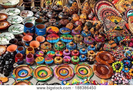 Peruvian souvenirs and toys on the market