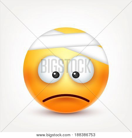 Smiley, sad ill emoticon. Yellow face with emotions. Facial expression. 3d realistic emoji. Funny cartoon character.Mood. Web icon. Vector illustration.