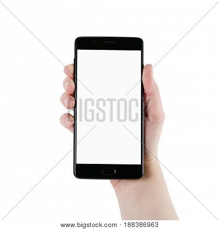 female teen hand holding smartphone with blank screen isolated on white background