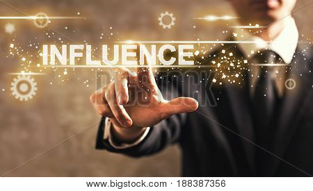 Influence Text With Businessman