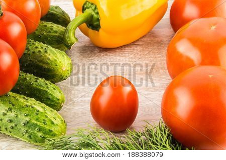 Cucumber, tomato, pepper and fennel on a white wooden background close up