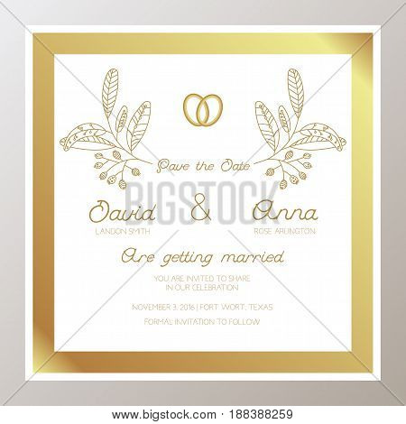 Romantic Wedding invitation with gold rings, twigs. Square shape. Suitable for bachelorette party, save this date, congratulations