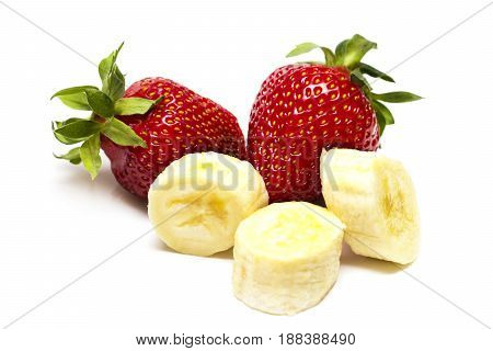 Whole Strawberry, Half And Banana Pieces 3 Isolated On White Background As Package Design Element