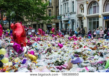 Flowers, Balloons And Toys On St Anns Square Im Manchester