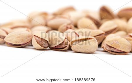 pistachios on a white background. close . A photo