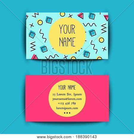 Business card template with creative memphis texture on blue background