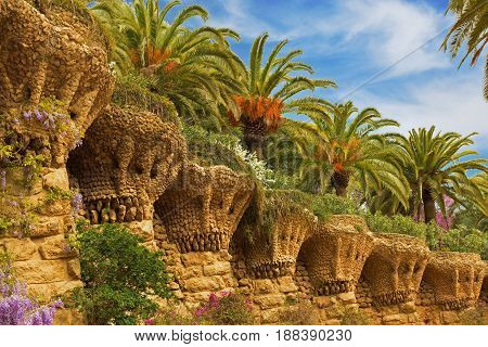 Nature of Park Guell in Barcelona Spain