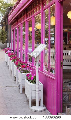Pink facade of an interesting restaurant in Kiev Ukraine