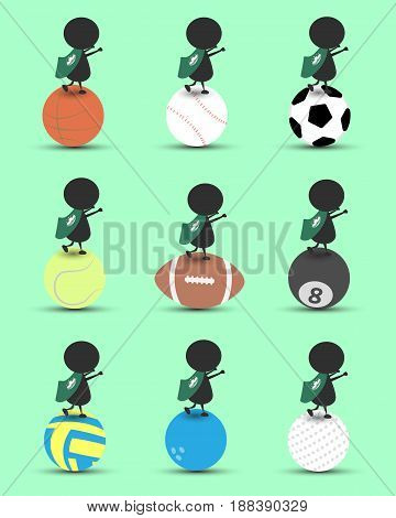 Black man character cartoon stand on sports ball and hands up overhead with wavy Macau flag and green background. Flat graphic.logo design.sports cartoon.sports balls vector. illustration. RGB color.