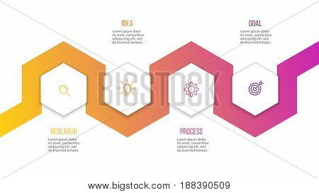 Business infographics. Presentation with 4 steps, hexagons. Vector template.