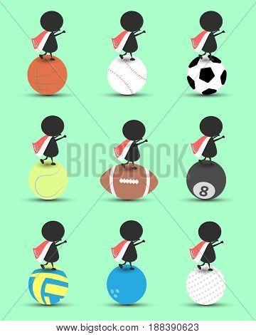 Black man character cartoon stand on sports ball and hands up overhead with wavy Singapore flag and green background. Flat graphic.logo design.sports cartoon.sports balls vector. illustration. RGB color.