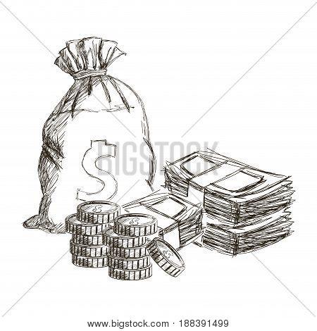 sack or money bag stach cash coins currency dollar engraved vintage vector illustration