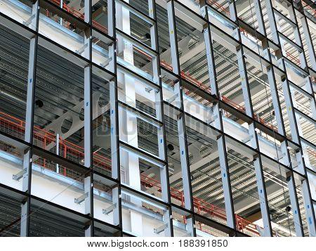 metal framework of a modern highrise office development
