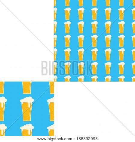 Seamless pattern blank with goblets of beer with foam on the blue background with pattern unit.