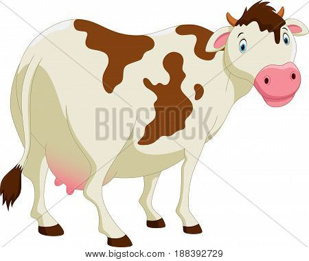 Vector illustration of cute cow cartoon isolated on white background