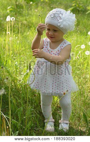 A little girl is walking happily among the dandelions