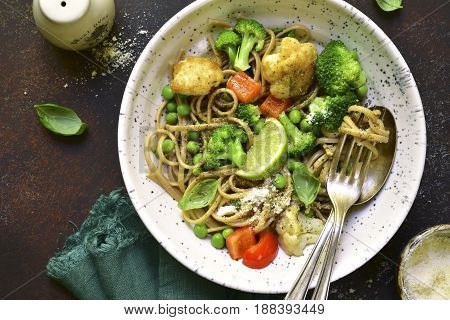 Wholewheat Organic Pasta With Vegetables.top View.