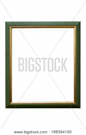 Green wooden picture frame with golden decorations isolated on white background with clipping path
