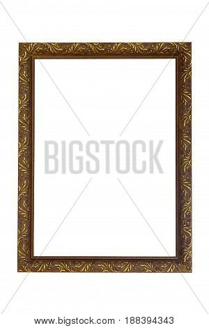 Rectangle gilded picture frame isolated on white background with clipping path