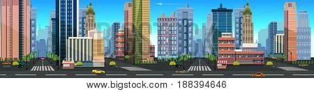 Illustration of a city landscape , with buildings and road, vector unending background with separated layers for game.Vector illustration for your design.