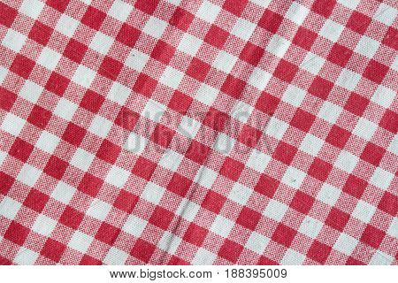 Red vintage picnic tablecloth. Checkered picnic blanket.