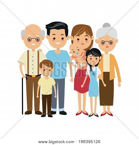 very adorable big family portrait including grandparents vector illustration